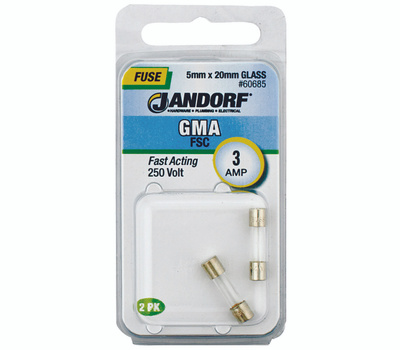 Jandorf 60685 3 Amp GMA Fast Acting Glass Fuses 2 Pack