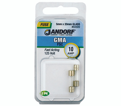 Jandorf 60689 10 Amp GMA Fast Acting Glass Fuses 2 Pack