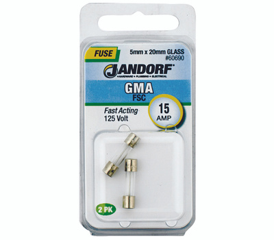 Jandorf 60690 15 Amp GMA Fast Acting Glass Fuses 2 Pack