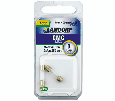 Jandorf 60694 3 Amp GMC Medium Time Delay Glass Fuses 2 Pack