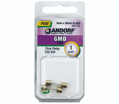 Jandorf 60702 1 Amp GMD Time Delay Glass Fuses 2 Pack