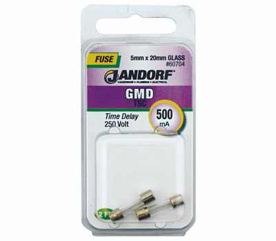 Jandorf 60704 500Ma GMD Time Delay Glass Fuses 2 Pack