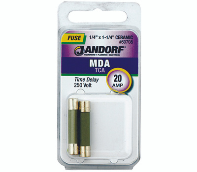 Jandorf 60708 20 Amp MDA Time Delay Ceramic Fuses 2 Pack
