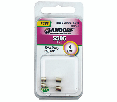 Jandorf 60734 4 Amp S506 Time Delay Glass Fuses 2 Pack
