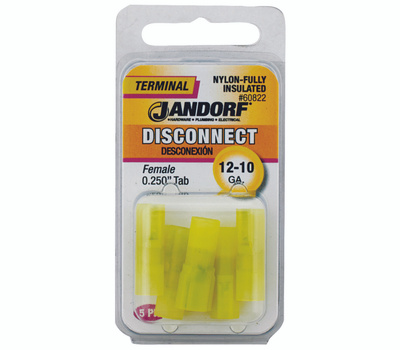Jandorf 60822 Disconnect Female.25 Inch Tab Nylon Insulated Wire Gauge 12-10