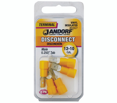Jandorf 60827 Disconnect Male.25 Inch Tab Vinyl Insulated Wire Gauge 12-10