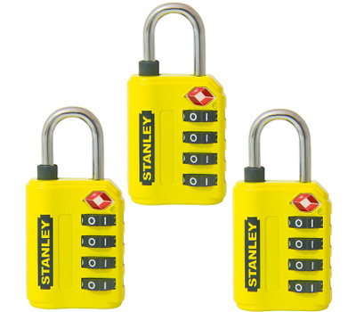 National Hardware S822-029X3 Stanley TravelMax TSA Approved 4 Digit 30Mm Luggage Padlock Yellow 3 Pack