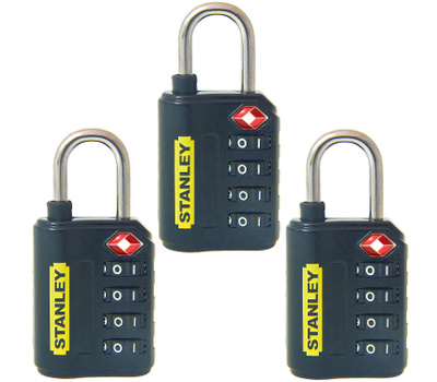 National Hardware S822-021X3 Stanley TravelMax TSA Approved 4 Digit 30Mm Luggage Padlocks Black 3 Pack