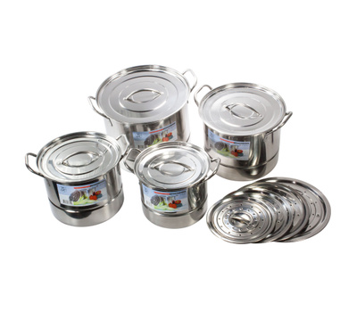 Royal Manufacturers ROY48207 Stainless Steel Steamer Pot 4 Piece Set With Dual Lids