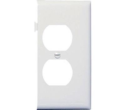 Pass & Seymour PJSE8W White Duplex Outlet Opening End Section Sectional Nylon Wall Plate