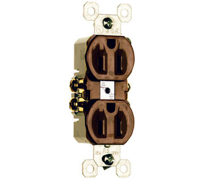 Pass & Seymour 3232TU 15 Amp Brown 2 Pole 3 Wire Grounding Standard Duplex Outlet