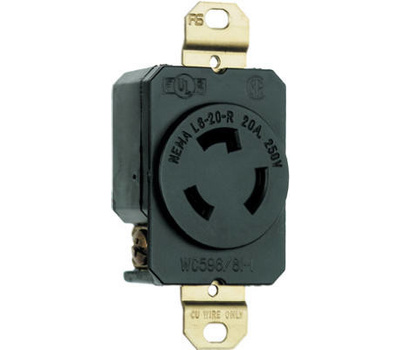 Pass & Seymour L620RCCV3 20 Amp 250 Volt Black 2 Pole 3 Wire Grounding  Locking Outlet