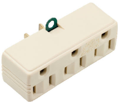 Pass & Seymour 1219ICC10 15 Amp Ivory Triple Grounding Adapter