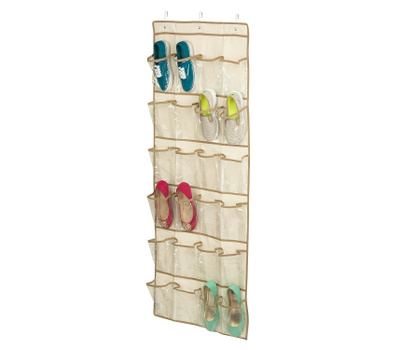 Honey Can Do SFT-01256 24 Pocket Hanging Shoe Organizer Natural Color
