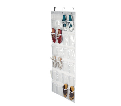 Honey Can Do SFT-01575 24 Pocket Non Woven Over The Door Hanging Shoe Organizer White