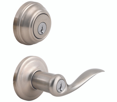 Kwikset 991TNL 15 SMT CP K4 Tustin Keyed Entry Lever And Single Cylinder Deadbolt Smartkey Satin Nickel