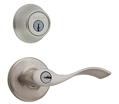 Kwikset 690BL 15 CP Balboa Keyed Entry Lever And Single Cylinder Deadbolt Satin Nickel