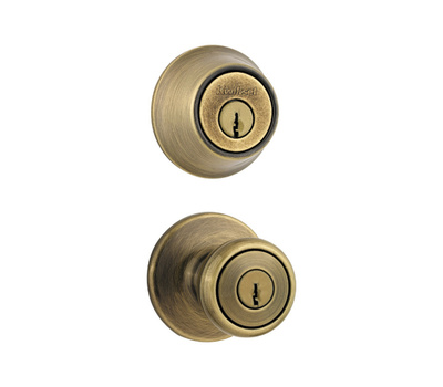 Kwikset 695T 5 CP Tylo Keyed Entry And Double Cylinder Deadbolt Antique Brass