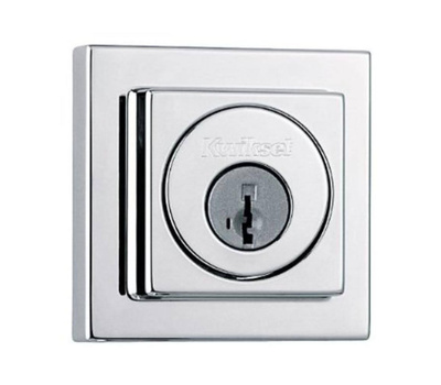 Kwikset 994 SQT 26 SMT RCAL CP Signature Series Contemporary Square Double Cylinder Smartkey Deadbolt Polished Chrome Round Corner Latch