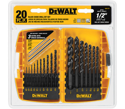 DeWalt DW1177 20 Piece Black Oxide Drill Bit Set 1/16 To 1/2 Inch