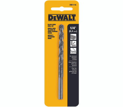 DeWalt DW1116 1/4 By 4 Inch Black Oxide Coated Drill Bit