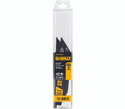DeWalt DWA4186B25 6-Inch 14/18 TPI 2X Max Bi-Metal Reciprocating Saw Blade