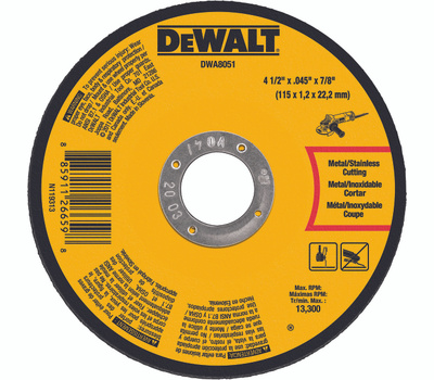 DeWalt DWA8051 4-1/2 By.045 By 7/8 Cut-Off Whl