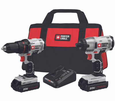 Porter Cable PCCK604L2 20 Volt Lithium-Ion Drill Driver And Impact Driver Kit