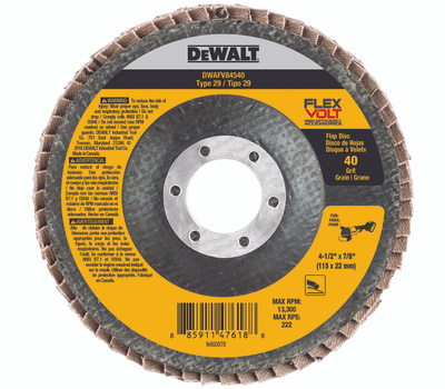 DeWalt DWAFV84540 Flap Disc 4.5 X 7/8In 40G T29