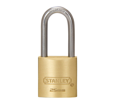 National Hardware S824-669 Stanley Outdoor Or Indoor Padlock 1 Inch 25mm Padlock Cast Brass Body Long Hardened Steel Shackle