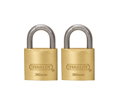 National Hardware S827-405 Stanley Outdoor Padlocks 1-3/16 Inch 30Mm Cast Brass Body Hardened Steel Shackle 2 Pack