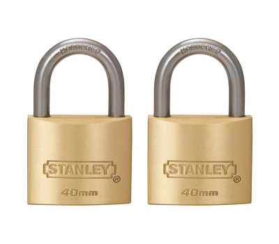 National Hardware S827-408 Stanley Outdoor Padlocks 1-9/16 Inch 40Mm Cast Brass Body Hardened Steel Shackle 2 Pack