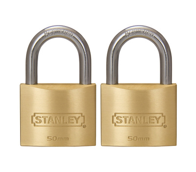 National Hardware S827-411 Stanley Outdoor Padlocks 2 Inch 50Mm Cast Brass Body Hardened Steel Shackle 2 Pack