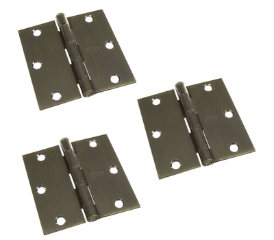 National Hardware N830-329 Door Hinges 3-1/2 Inch Square Corner Antique Brass 3 Pack
