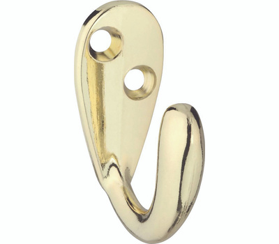 National Hardware N830-141 Single Prong Robe Hook Polished Brass