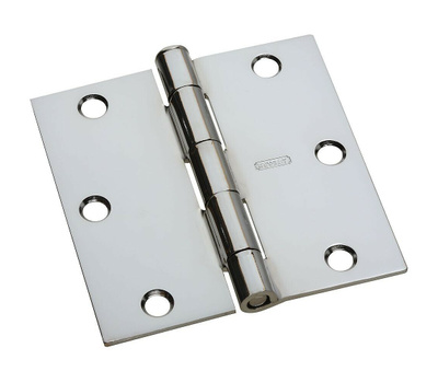 National Hardware N830-187 Door Hinge 3 Inch Square Corner Polished Chrome