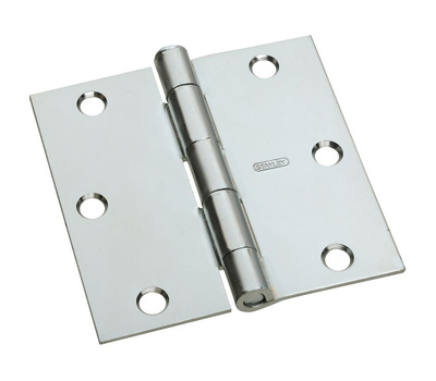 National Hardware N830-194 Door Hinge 3-1/2 Inch Square Corner Zinc Plated Steel