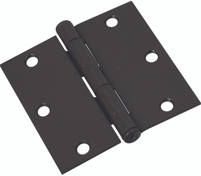 National Hardware N830-205 Door Hinge 3 Inch Square Corner Oil Rubbed Bronze