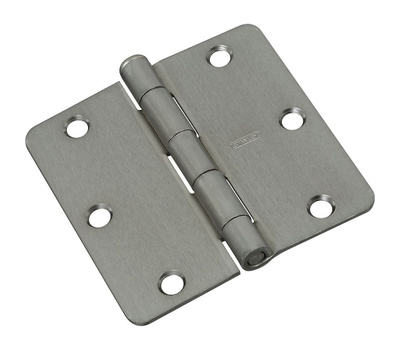 National Hardware N830-236 3-1/2 Inch 1/4 Radius Door Hinge Satin Chrome