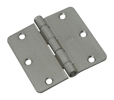 National Hardware N830-245 Door Hinge 3-1/2 Inch 1/4 Radius Satin Nickel