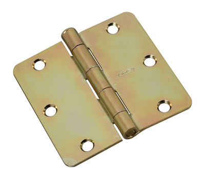 National Hardware N830-263 Door Hinge 3-1/2 Inch 1/4 Radius Brass Tone