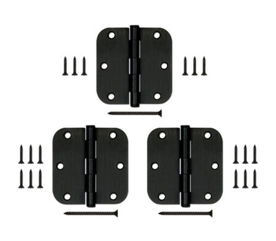 National Hardware S841-506 Gatehouse Door Hinges 3-1/2 Inch 5/8 Radius Oil Rubbed Bronze Pack Of 3
