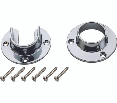 National Hardware S822-080 Heavy Duty Closet Flange Set For 1-5/16 Inch Metal Poles Die Cast Chrome
