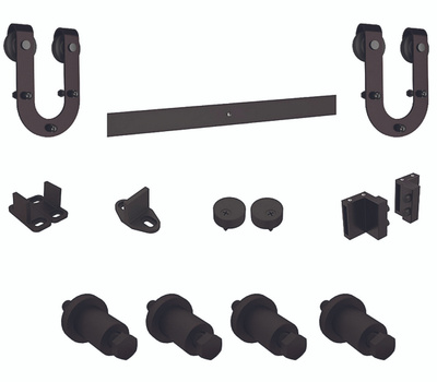 National Hardware N186-964 Decorative Interior Sliding Door Hardware Kit Horseshoe Style Oil Rubbed Bronze