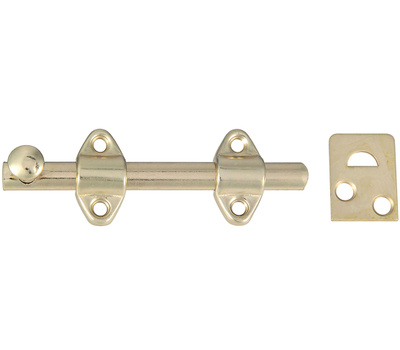 National Hardware N236-342 S763-550 Surface Bolt 4 Inch Satin Brass Plated Steel