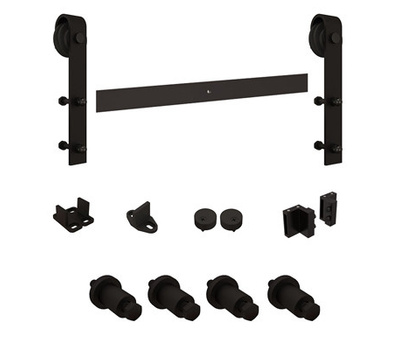 National Hardware N186-990 Sliding Door Hardware Kit 72 Inch Long For 1-3/8 And 1-3/4 Inch Doors Black