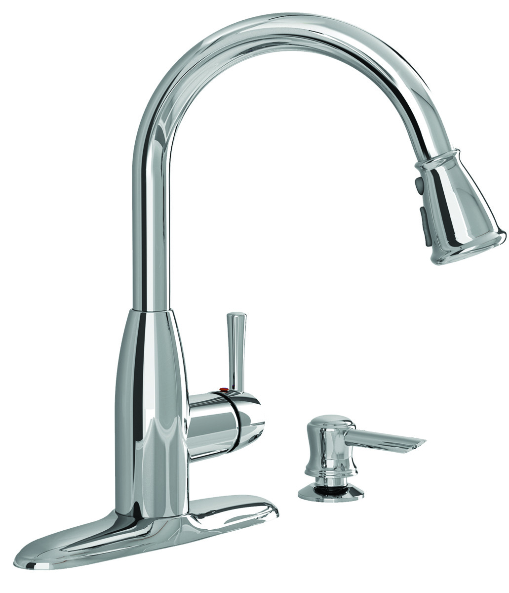 American Standard 9012301.002 Mckenzie 1 Handle High-Arc Pull Down Kitchen  Faucet With Soap Dispenser Polished Chrome