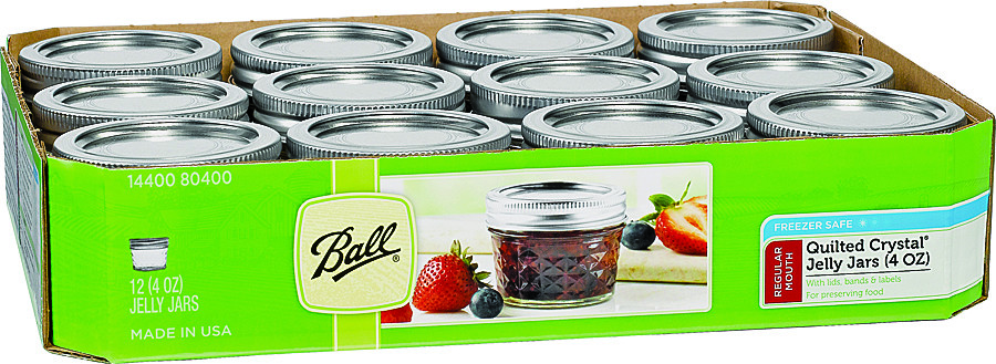 Rubbermaid Home 80400 Ball 4 Ounce Quilted Crystal Jelly Jars With Lids Set  Of 12