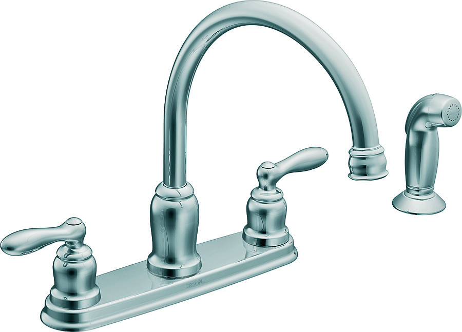 Moen CA87888 Caldwell 2 Handle High Arc Kitchen Faucet With Side ...