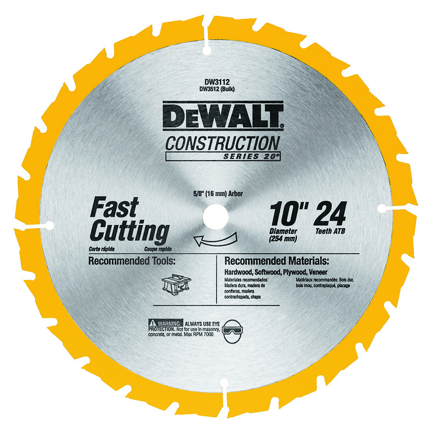 Dewalt Dw3112 10 Inch 24 Tooth Table Saw Blade